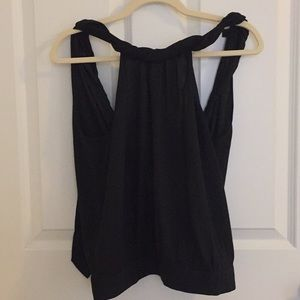 Black dress up top with open back